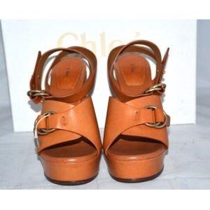 cd8eeefe4b3 Chloe Shoes - CHLOE Kingsley Platform Buckle Brown Sandals